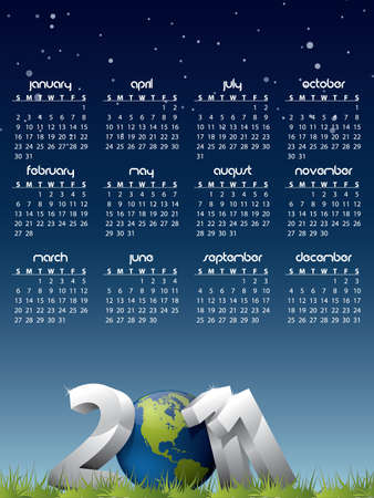 English calendar for year 2011 with Earth globe in grass  Vector