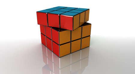 Cube Rube rubix cube on white. V-ray render