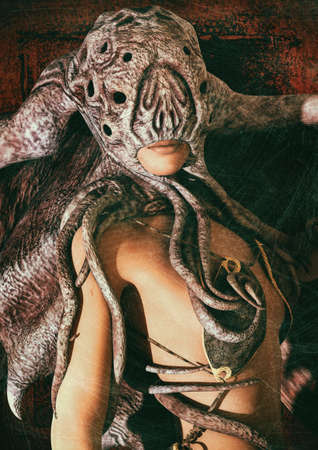 Portrait of a woman dressing Cthulhu-like masks. 3D Illustration. Imagens