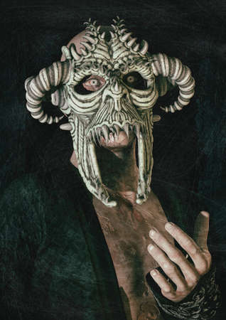 Portrait of a scary man with his eyes full of blood, dressing a horned demonic mask. 3D Illustration.