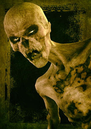 Portrait of a scary zombie with his rotten flesh. 3D Illustration. Stock Photo