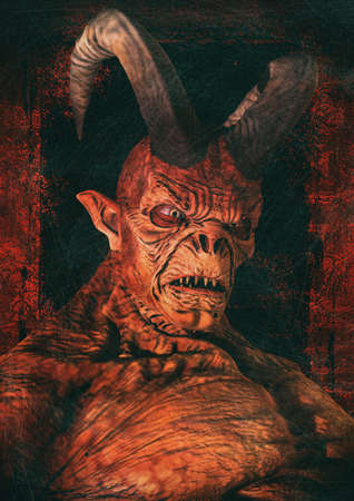 Portrait of a scary red horned demon. 3D Illustration. Stock Photo