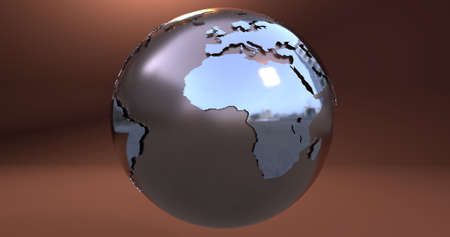 A background with the Earth planet made in metal, which shows the Africa continent. 3D Illustration. Stockfoto