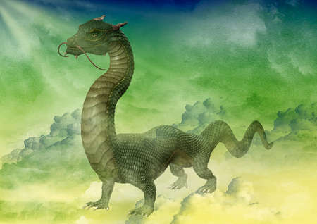 Chinese green dragon portrait on a fantasy sky. 3D Illustration. Stock Photo