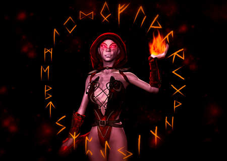 Portrait of a fantasy Dark Elve surrounds by a circle of runes. 3D Illustration.