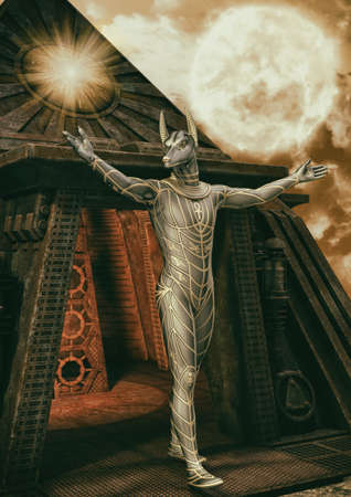 A portrait of the Egyptian God Anubis with a pyramid behind him. 3D Illustration. Stock Photo