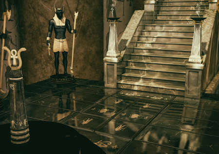 A scene of a fantasy Egyptian place full of geoglyphs on the floor and statue of the God Anubis. 3D Illustration.