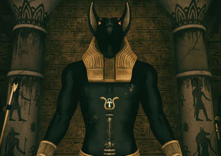 A scene with the close-up view of a huge statue of the Egyptian God Anubis. 3D Illustration.
