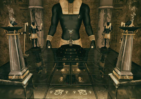 A scene of the entrance of a fantasy Egyptian temple guarded by statues of the God Anubis. 3D Illustration.