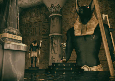 A scene of a fantasy Egyptian temple, and two statues of the God Anubis watching an Ank. 3D Illustration. Foto de archivo - 114391584