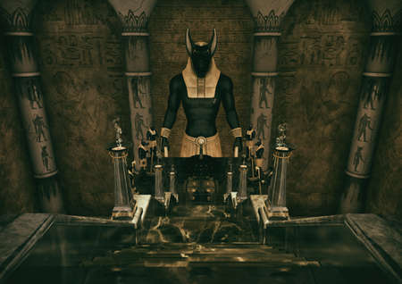 A scene with a ladder which leads to a huge statue of the Egyptian God Anubis. 3D Illustration. Foto de archivo - 114392264