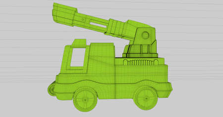 A scene of a fire truck in a wireframe style. 3D Illustration. Stock Photo