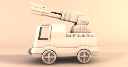 A scene of a cartoonish fire truck. 3D Illustration.
