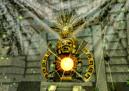 A scene of a close-up view of a Mayan gold fantasy item. 3D Illustration.