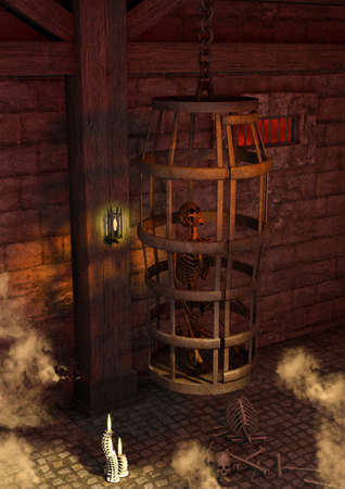 A scene of a fantasy creepy dungeon with a cage and a skeleton inside of it. 3D Illustration.