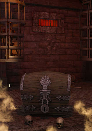 A scene of fantasy, dark dungeon with a vault, cages, and skulls. 3D Illustration.