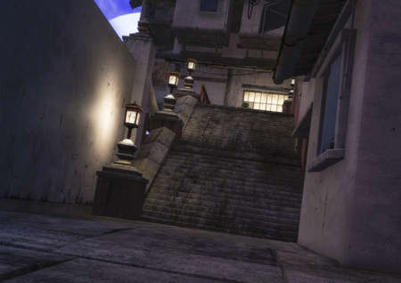 A night scene of an Asian neighborhood, with a stone ladder and lamps. 3D Illustration.