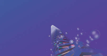 A scene with an abstract geometry figure on a blue background. 3D Illustration.