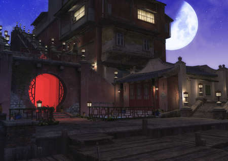 A night scene of an Asian neighborhood full of lamps, with a moon shining at the sky. 3D Illustration.