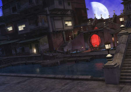 A night scene of an Asian neighborhood, with a calm lake illuminated by the moon. 3D Illustration. Reklamní fotografie