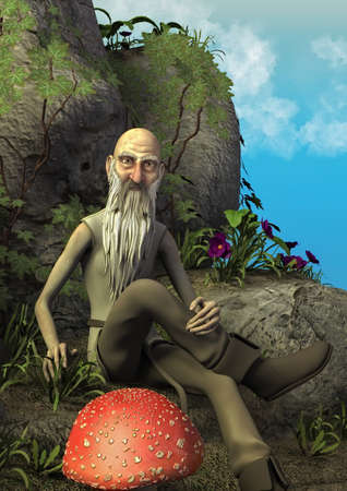A fairytale scene with an elderly magician sitting in a stone throne surround by mushrooms. 3D Illustration. 写真素材