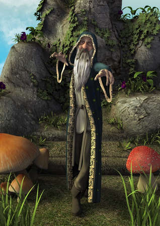 A fairytale full body portrait of an old magician with a gray beard. 3D Illustration. Zdjęcie Seryjne