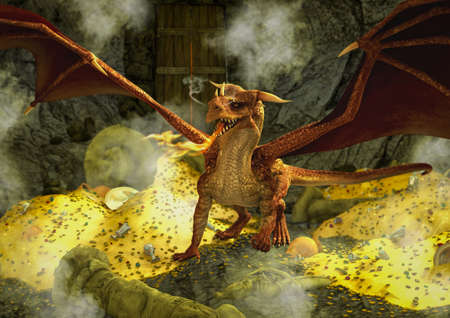A fantasy scene with a red dragon inside the cave, surrounded by gold and other treasures. 3D Illustration. Stock Photo
