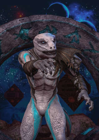A portrait of an albino reptilian with an unknown space portal behind him. 3D Illustration.