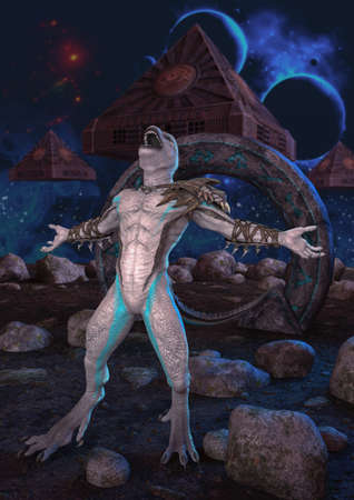 An albino reptilian screaming in an unknown planet with pyramids flying behind him. 3D Illustration.