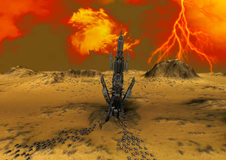 A fantasy scene of an alien planet with a spaceship base. 3D Illustration.