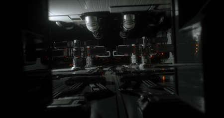 A scene from a futuristic  sci-fi spaceship. 3D Illustration. Stock Photo