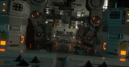 A scene from a futuristic  sci-fi spaceship. 3D Illustration. Reklamní fotografie
