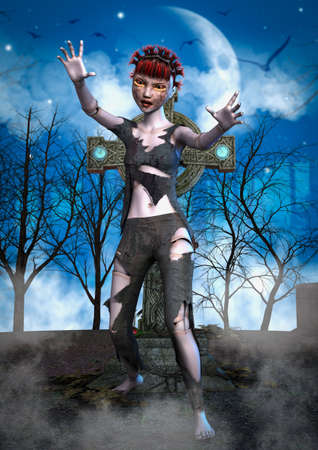 Full body portrait of a zombie doll in a cemetery. 3D Illustration.