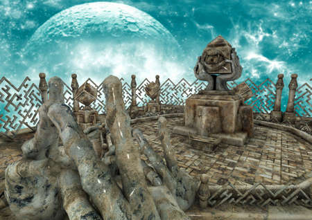 A surreal scene with stone hands, stone cubes, and a pyramid with an eye on it. 3D Illustration. Stock Photo