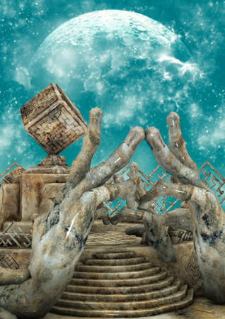 A surrealist scenario with stone hands, a ladder, and a cube. 3D Illustration.