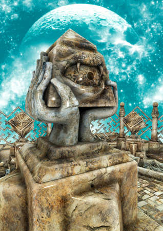 A surreal scene with a stone idol with the shape of a pyramid and an eye with teeth. 3D Illustration. Stock Photo