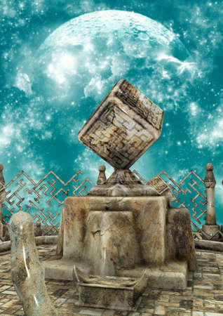 A surreal scenario with a stone cube statue. 3D Illustration.