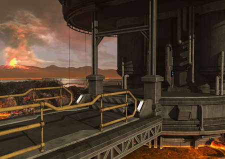 A close-up view of a scene of a sci-fi bridge with a volcano behind it. 3D Illustration.