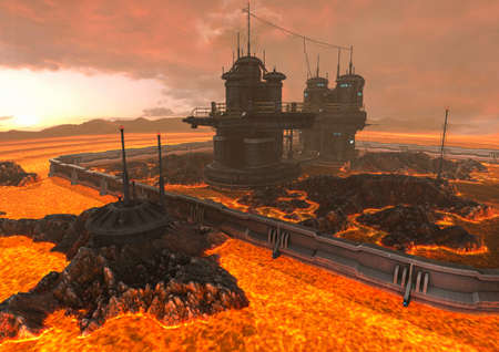 A scene with ground with lava, fire, and a fantasy building. 3D Illustration.