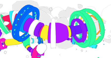 Illustration in a cartoonish style about colorful pipes. 3D Illustration.