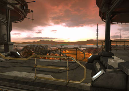 A scene from a stormy sky, a sci-fi bridge, and a ground with lava. 3D Illustration.