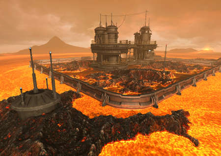 A scene with a futuristic  sci-fi building surround by lava and fire. 3D Illustration.