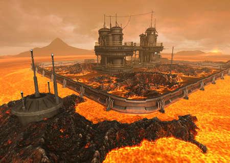 Una escena con un edificio futurista / de ciencia ficción rodeado de lava y fuego. Ilustración 3D.
