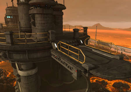 A fantasy scene with an iron building in a ground with lava and fire. 3D Illustration.