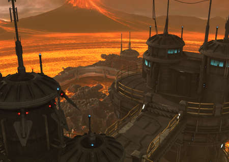 A scene with a volcano, fire, lava and an iron sci-fi building. 3D Illustration.