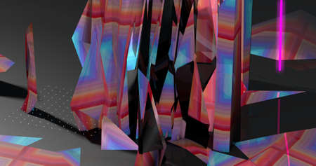 Illustration of a colorful abstract fractal. 3D Illustration. Imagens