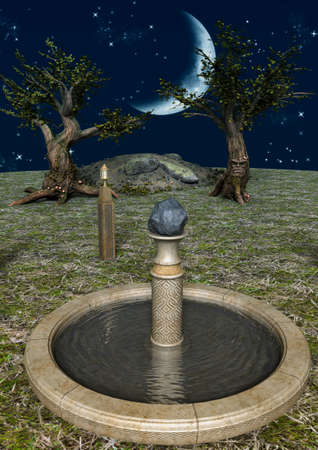 A fairytale scene with a fountain with water, trees and a shiny moon. 3D Illustration. Imagens