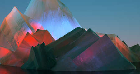A modern abstract illustration about colorful crystals which seem mountains. 3D Illustration.