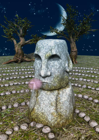 A fairytale stone labyrinth, and a stone head with a bubblegum. 3D Illustration. Imagens