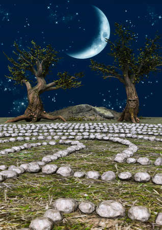 A close-up view of a fairytale stone labyrinth with old trees and a moon shining in the place. 3D Illustration. Imagens